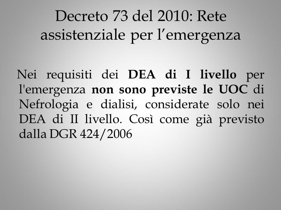 Decreto 73 del 2010: Rete assistenziale per l'emergenza Nei requisiti dei DEA di I livello per l emergenza non sono previste le UOC di Nefrologia e dialisi, considerate solo nei DEA di II livello.
