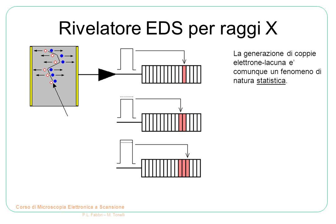 Rivelatore EDS per raggi X Corso di Microscopia Elettronica a Scansione P.L. Fabbri – M. Tonelli La generazione di coppie elettrone-lacuna e' comunque