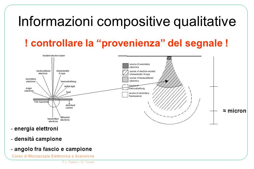 Informazioni compositive qualitative Corso di Microscopia Elettronica a Scansione P.L. Fabbri – M. Tonelli - energia elettroni - densitá campione - an