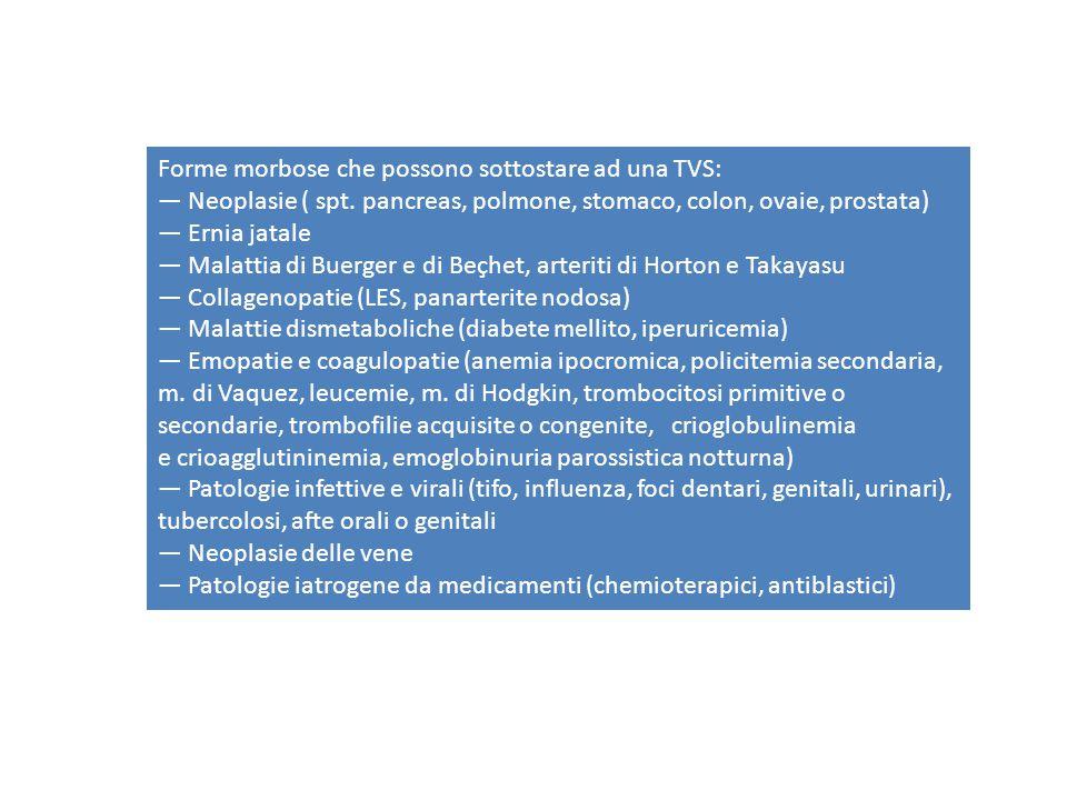 Forme morbose che possono sottostare ad una TVS: — Neoplasie ( spt.