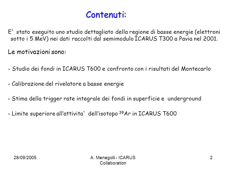 28/09/2005A. Menegolli - ICARUS Collaboration 2 Contenuti: E` stato eseguito uno studio dettagliato della regione di basse energie (elettroni sotto i