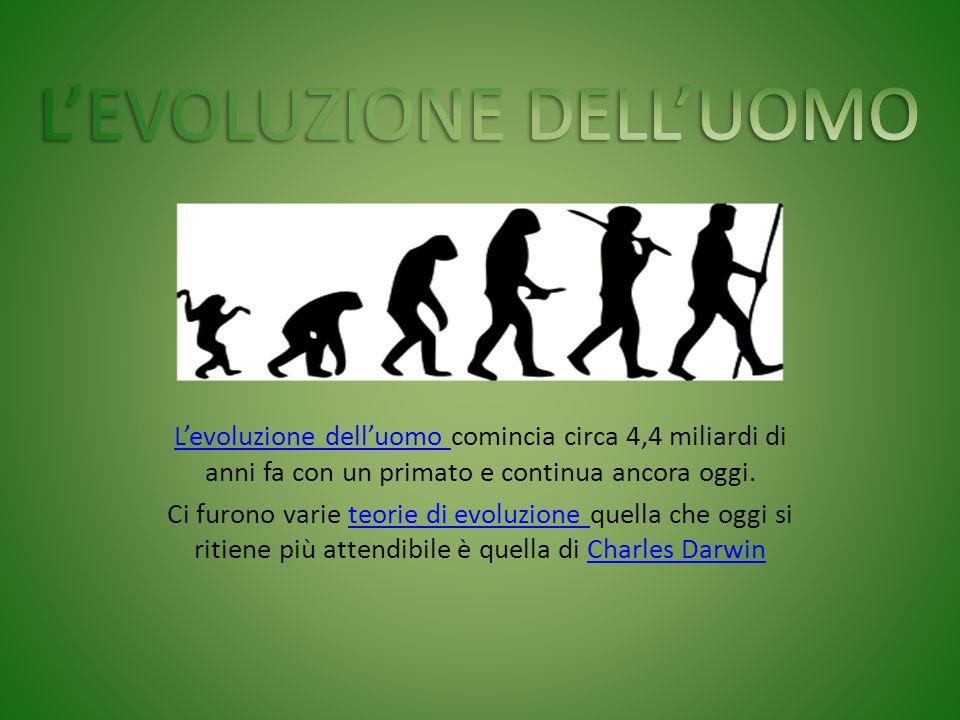 L'evoluzione dell'uomo L'evoluzione dell'uomo comincia circa 4,4 miliardi di anni fa con un primato e continua ancora oggi. Ci furono varie teorie di