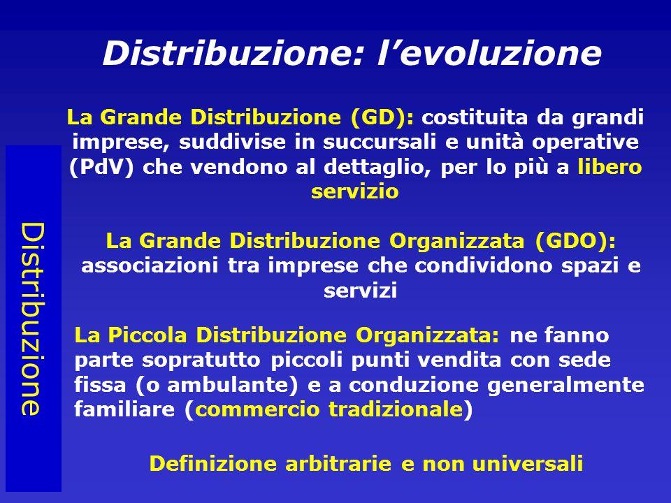 Distribuzione Distribuzione: l'evoluzione La Grande Distribuzione (GD): costituita da grandi imprese, suddivise in succursali e unità operative (PdV) che vendono al dettaglio, per lo più a libero servizio La Grande Distribuzione Organizzata (GDO): associazioni tra imprese che condividono spazi e servizi La Piccola Distribuzione Organizzata: ne fanno parte sopratutto piccoli punti vendita con sede fissa (o ambulante) e a conduzione generalmente familiare (commercio tradizionale) Definizione arbitrarie e non universali