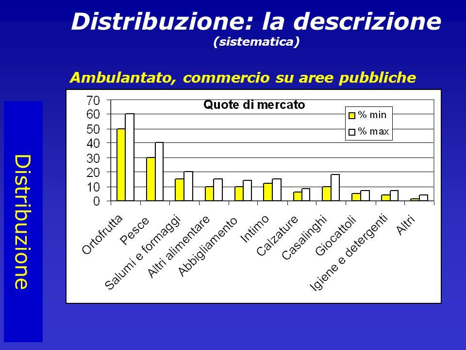 Distribuzione Distribuzione: la descrizione (sistematica) Ambulantato, commercio su aree pubbliche