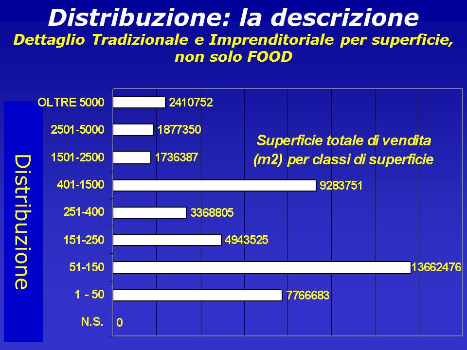 Distribuzione Distribuzione: la descrizione Dettaglio Tradizionale e Imprenditoriale per superficie, non solo FOOD