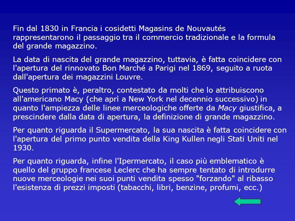 Fin dal 1830 in Francia i cosidetti Magasins de Nouvautés rappresentarono il passaggio tra il commercio tradizionale e la formula del grande magazzino.