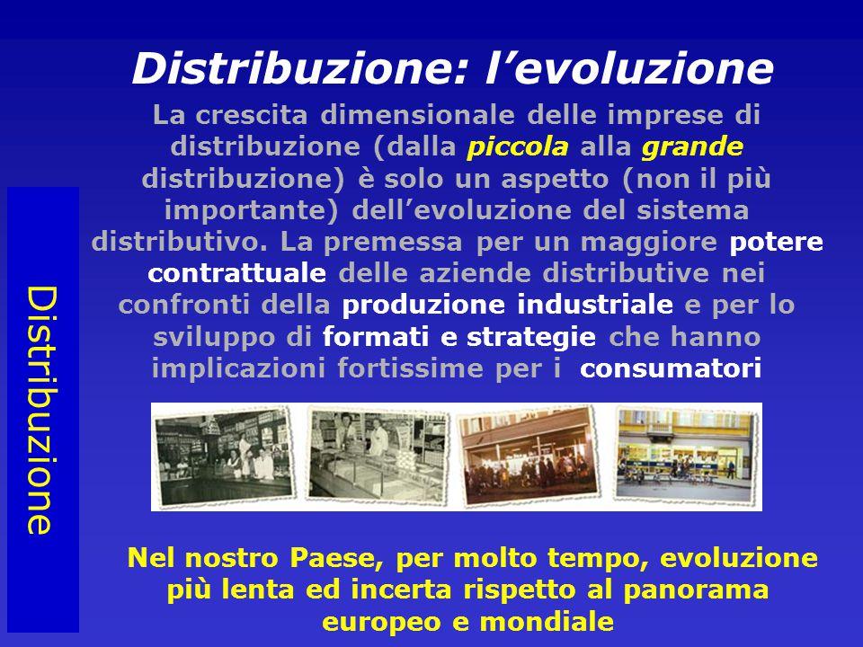 Distribuzione Distribuzione: l'evoluzione La crescita dimensionale delle imprese di distribuzione (dalla piccola alla grande distribuzione) è solo un aspetto (non il più importante) dell'evoluzione del sistema distributivo.
