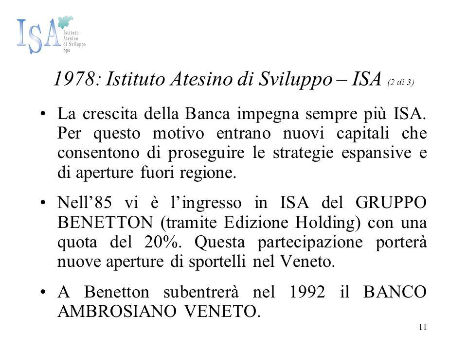 11 1978: Istituto Atesino di Sviluppo – ISA (2 di 3) La crescita della Banca impegna sempre più ISA. Per questo motivo entrano nuovi capitali che cons