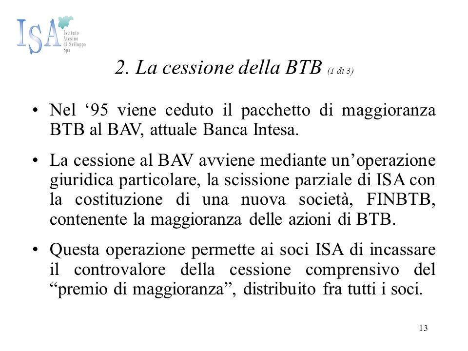 13 2. La cessione della BTB (1 di 3) Nel '95 viene ceduto il pacchetto di maggioranza BTB al BAV, attuale Banca Intesa. La cessione al BAV avviene med