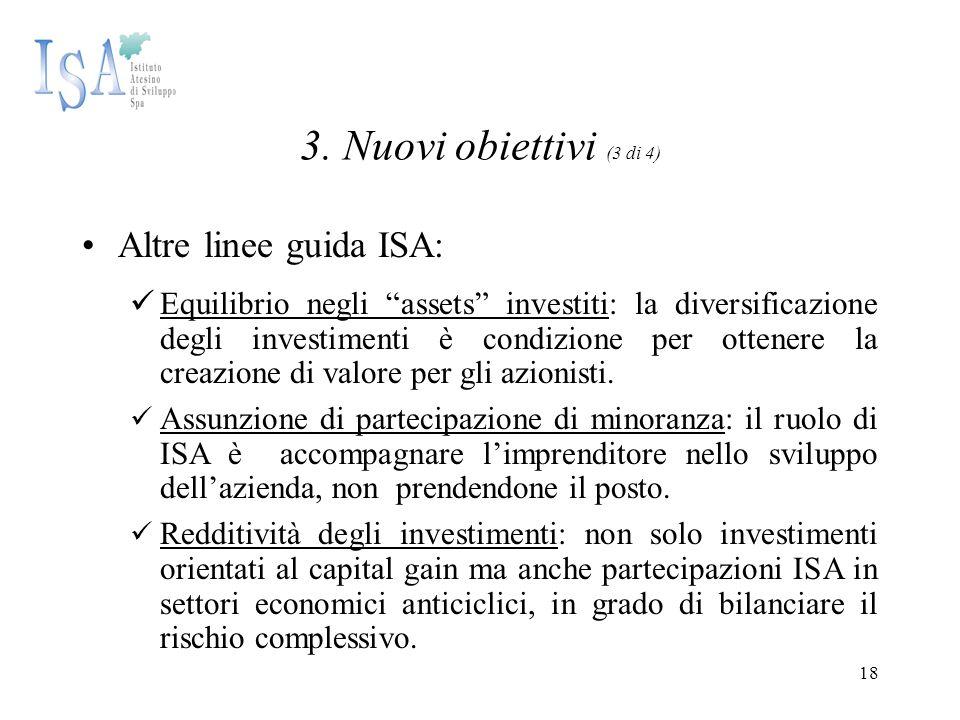 """18 3. Nuovi obiettivi (3 di 4) Altre linee guida ISA: Equilibrio negli """"assets"""" investiti: la diversificazione degli investimenti è condizione per ott"""