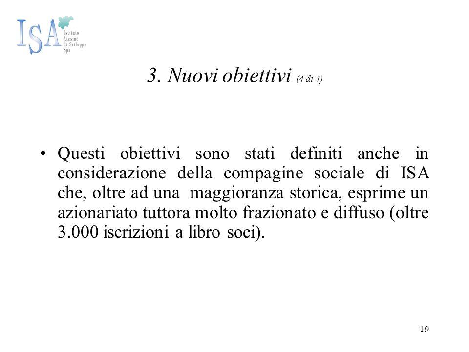 19 3. Nuovi obiettivi (4 di 4) Questi obiettivi sono stati definiti anche in considerazione della compagine sociale di ISA che, oltre ad una maggioran