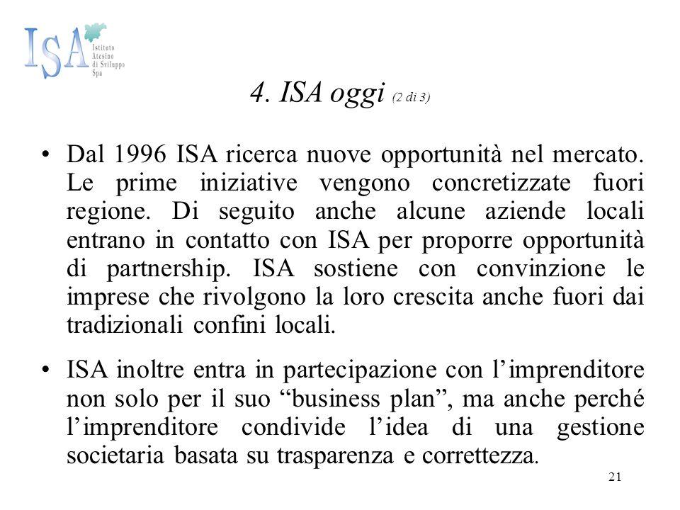 21 4. ISA oggi (2 di 3) Dal 1996 ISA ricerca nuove opportunità nel mercato. Le prime iniziative vengono concretizzate fuori regione. Di seguito anche