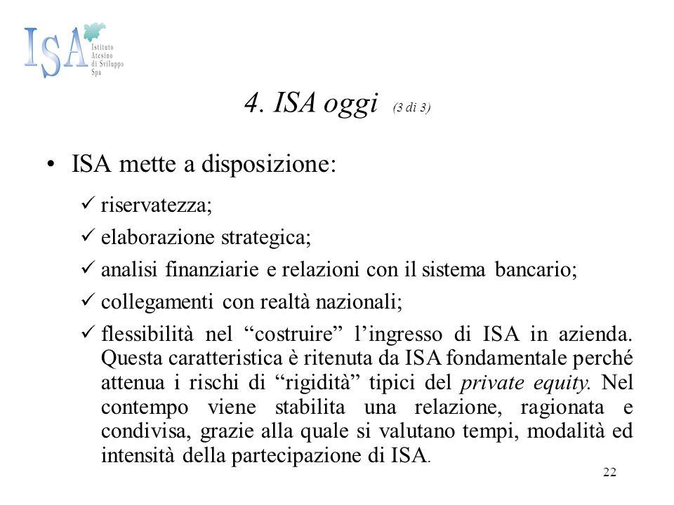 22 4. ISA oggi (3 di 3) ISA mette a disposizione: riservatezza; elaborazione strategica; analisi finanziarie e relazioni con il sistema bancario; coll