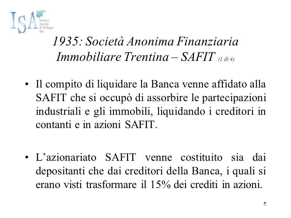 5 1935: Società Anonima Finanziaria Immobiliare Trentina – SAFIT (1 di 4) Il compito di liquidare la Banca venne affidato alla SAFIT che si occupò di