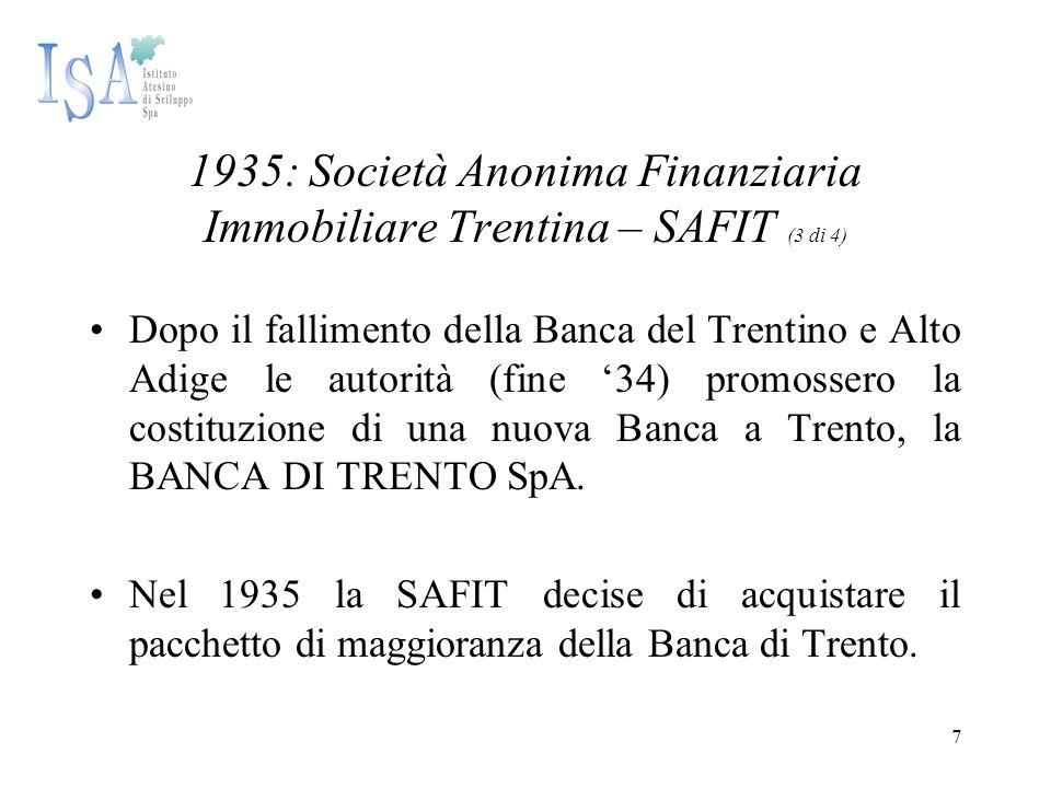 8 1935: Società Anonima Finanziaria Immobiliare Trentina – SAFIT (4 di 4) La SAFIT avviò così la ricostruzione di una banca privata regionale, realtà che diventerà poi BANCA DI TRENTO E BOLZANO.