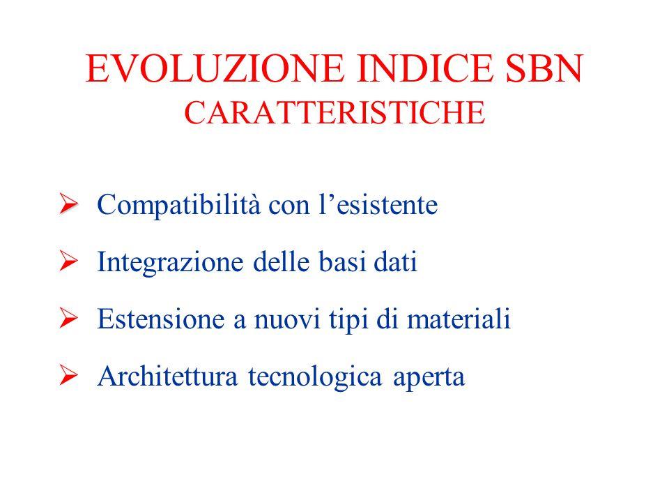 EVOLUZIONE INDICE SBN CARATTERISTICHE   Compatibilità con l'esistente  Integrazione delle basi dati  Estensione a nuovi tipi di materiali  Archit