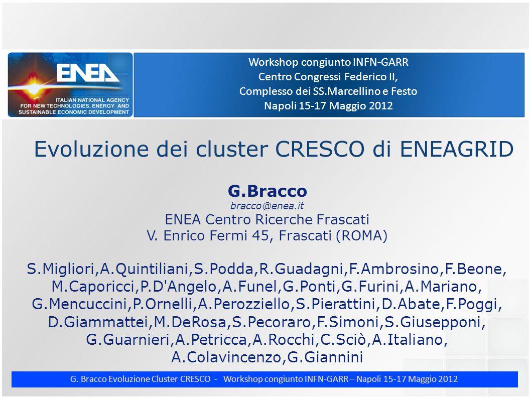 G. Bracco Evoluzione Cluster CRESCO - Workshop congiunto INFN-GARR – Napoli 15-17 Maggio 2012 Workshop congiunto INFN-GARR Centro Congressi Federico I