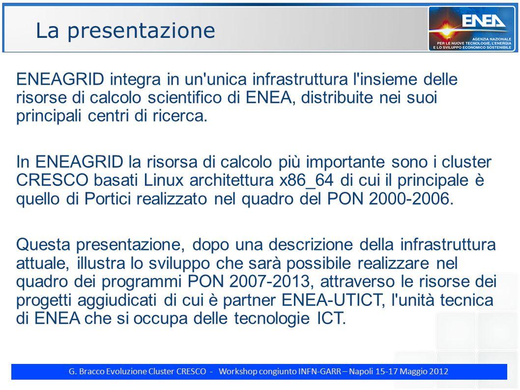 G. Bracco Evoluzione Cluster CRESCO - Workshop congiunto INFN-GARR – Napoli 15-17 Maggio 2012 ENE ENEAGRID integra in un'unica infrastruttura l'insiem
