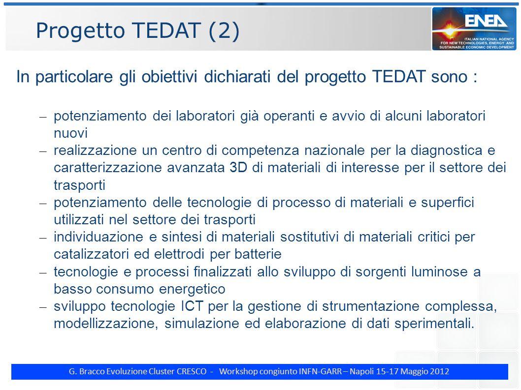 G. Bracco Evoluzione Cluster CRESCO - Workshop congiunto INFN-GARR – Napoli 15-17 Maggio 2012 Progetto TEDAT (2) In particolare gli obiettivi dichiara
