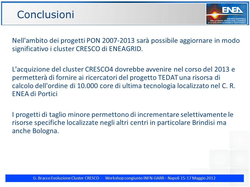 G. Bracco Evoluzione Cluster CRESCO - Workshop congiunto INFN-GARR – Napoli 15-17 Maggio 2012 ENE Conclusioni Nell'ambito dei progetti PON 2007-2013 s