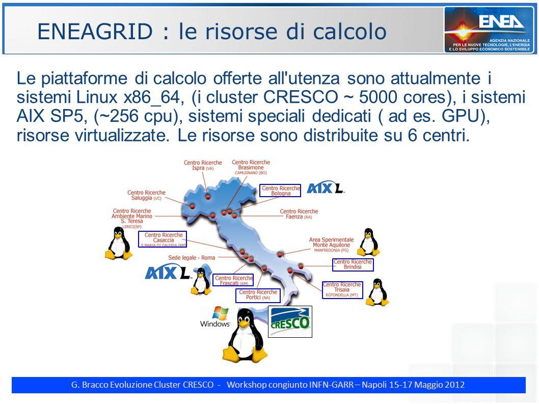G. Bracco Evoluzione Cluster CRESCO - Workshop congiunto INFN-GARR – Napoli 15-17 Maggio 2012 ENE Le piattaforme di calcolo offerte all'utenza sono at
