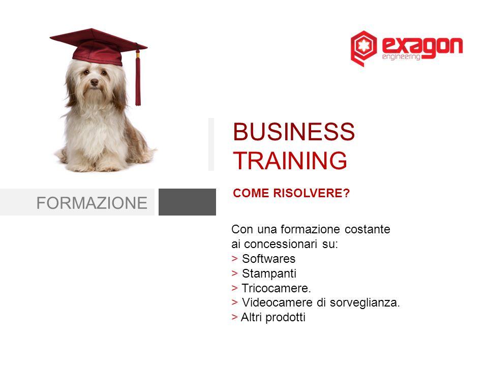 FORMAZIONE COME RISOLVERE? BUSINESS TRAINING Con una formazione costante ai concessionari su: > Softwares > Stampanti > Tricocamere. > Videocamere di