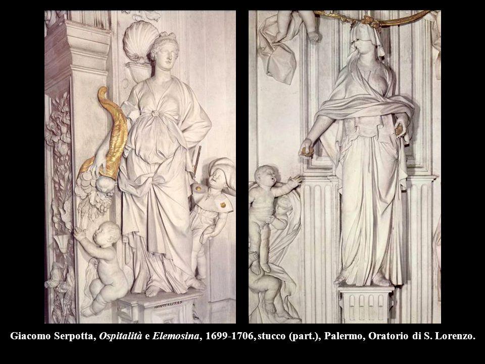 Giacomo Serpotta, Ospitalità e Elemosina, 1699-1706, stucco (part.), Palermo, Oratorio di S. Lorenzo.