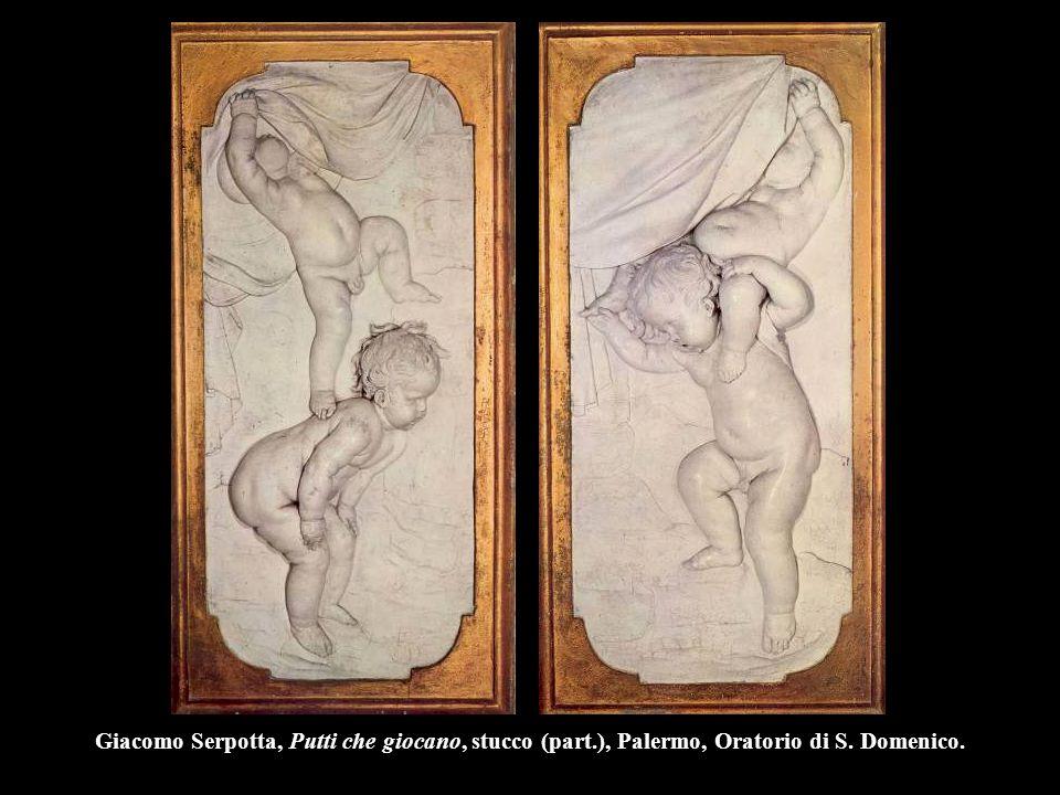 Giacomo Serpotta, Putti che giocano, stucco (part.), Palermo, Oratorio di S. Domenico.