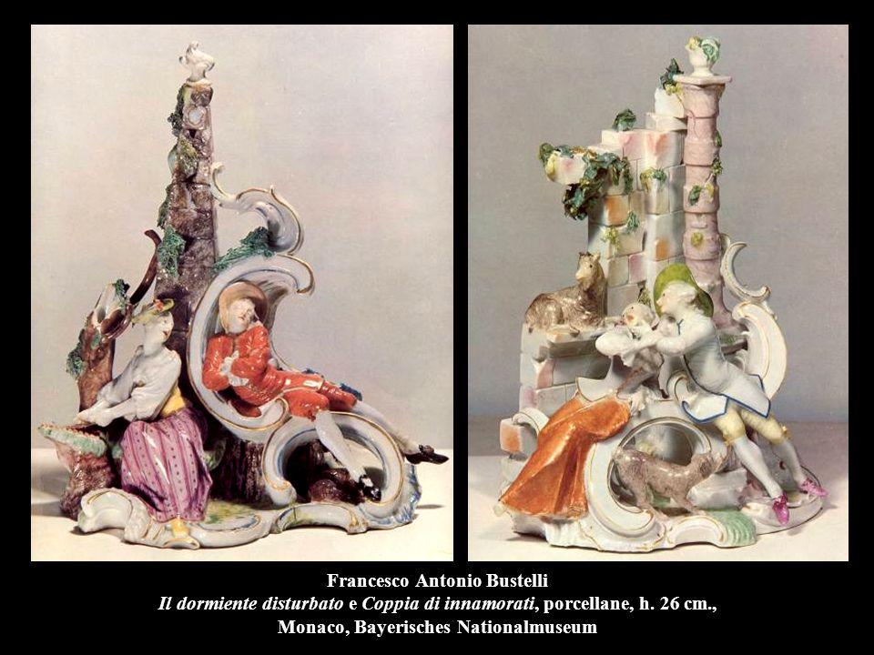 Francesco Antonio Bustelli Il dormiente disturbato e Coppia di innamorati, porcellane, h. 26 cm., Monaco, Bayerisches Nationalmuseum