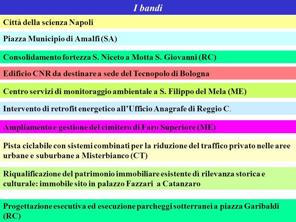 I bandi Città della scienza Napoli Piazza Municipio di Amalfi (SA) Consolidamento fortezza S. Niceto a Motta S. Giovanni (RC) Edificio CNR da destinar