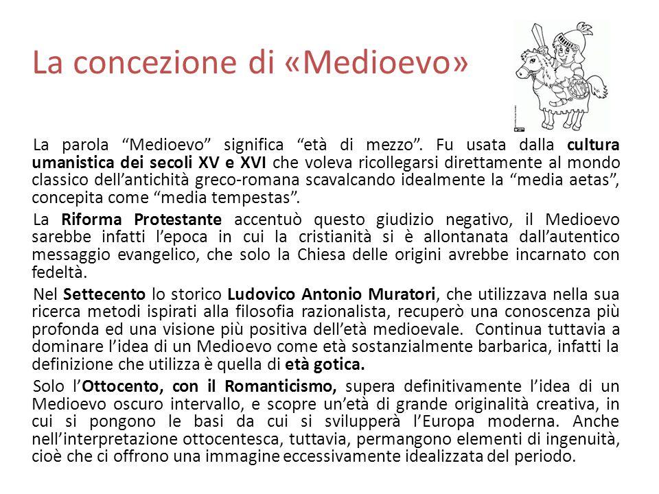 """La concezione di «Medioevo» La parola """"Medioevo"""" significa """"età di mezzo"""". Fu usata dalla cultura umanistica dei secoli XV e XVI che voleva ricollegar"""