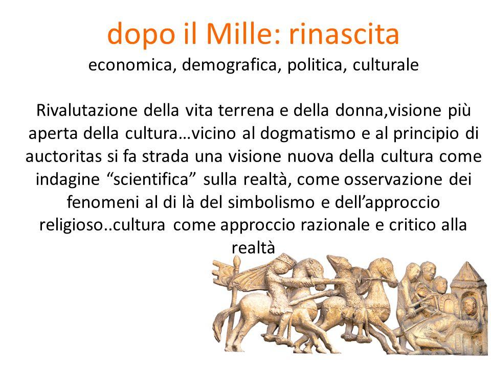 dopo il Mille: rinascita economica, demografica, politica, culturale Rivalutazione della vita terrena e della donna,visione più aperta della cultura…v