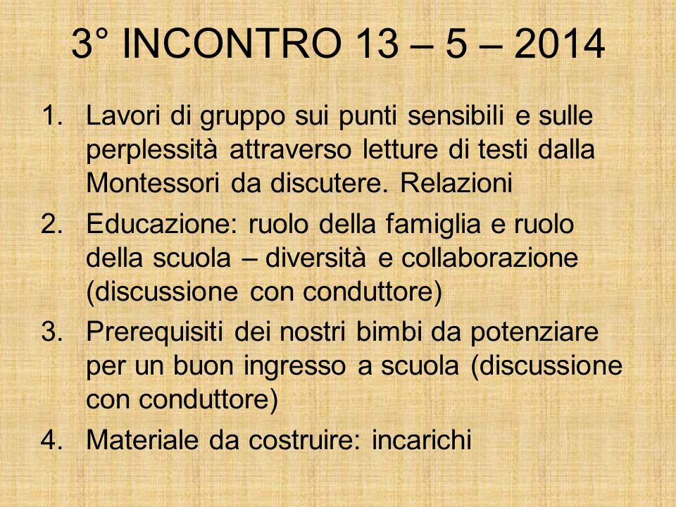 3° INCONTRO 13 – 5 – 2014 1.Lavori di gruppo sui punti sensibili e sulle perplessità attraverso letture di testi dalla Montessori da discutere.