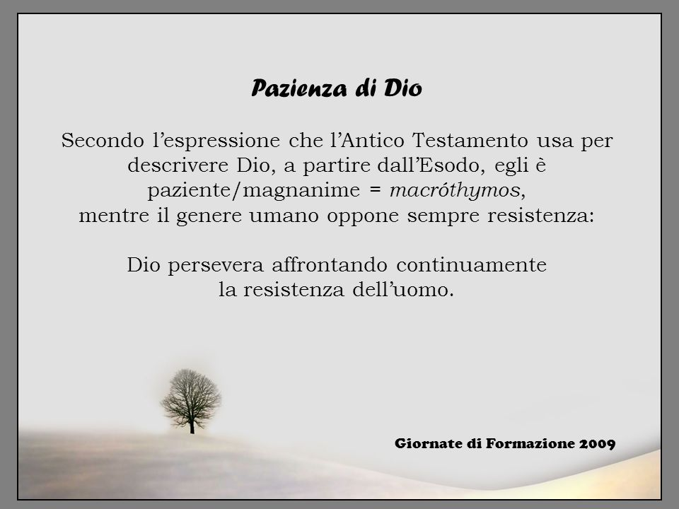 Pazienza di Dio Secondo l'espressione che l'Antico Testamento usa per descrivere Dio, a partire dall'Esodo, egli è paziente/magnanime = macróthymos, m