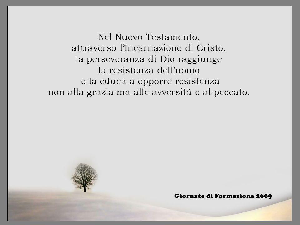 Nel Nuovo Testamento, attraverso l'Incarnazione di Cristo, la perseveranza di Dio raggiunge la resistenza dell'uomo e la educa a opporre resistenza no