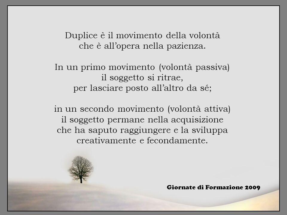 Duplice è il movimento della volontà che è all'opera nella pazienza. In un primo movimento (volontà passiva) il soggetto si ritrae, per lasciare posto