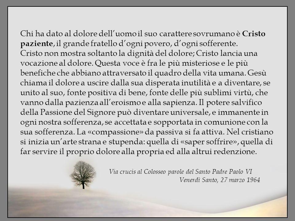 Chi ha dato al dolore dell'uomo il suo carattere sovrumano è Cristo paziente, il grande fratello d'ogni povero, d'ogni sofferente. Cristo non mostra s