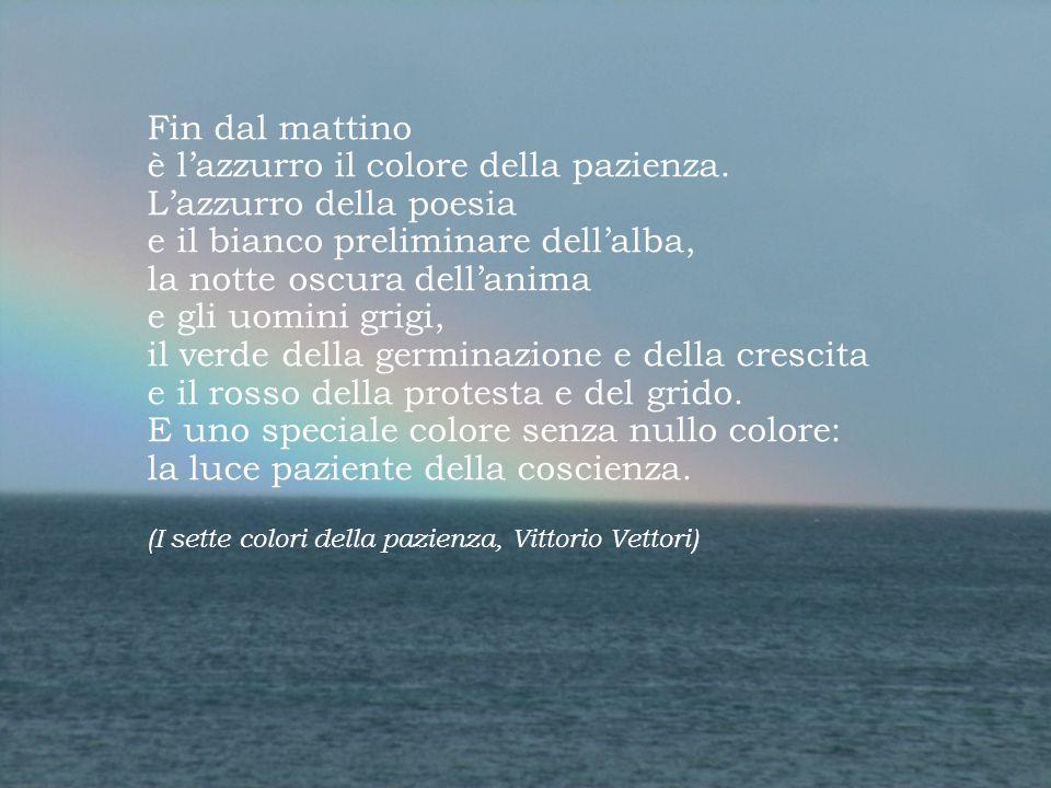 Fin dal mattino è l'azzurro il colore della pazienza. L'azzurro della poesia e il bianco preliminare dell'alba, la notte oscura dell'anima e gli uomin