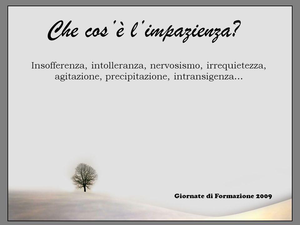 Insofferenza, intolleranza, nervosismo, irrequietezza, agitazione, precipitazione, intransigenza… Giornate di Formazione 2009 Che cos'è l'impazienza?