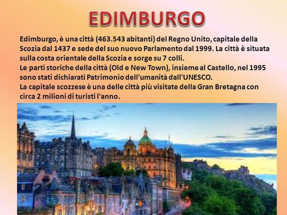 Edimburgo, è una città (463.543 abitanti) del Regno Unito, capitale della Scozia dal 1437 e sede del suo nuovo Parlamento dal 1999. La città è situata
