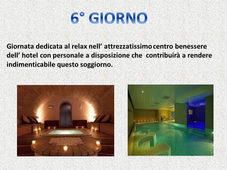Giornata dedicata al relax nell' attrezzatissimo centro benessere dell' hotel con personale a disposizione che contribuirà a rendere indimenticabile q