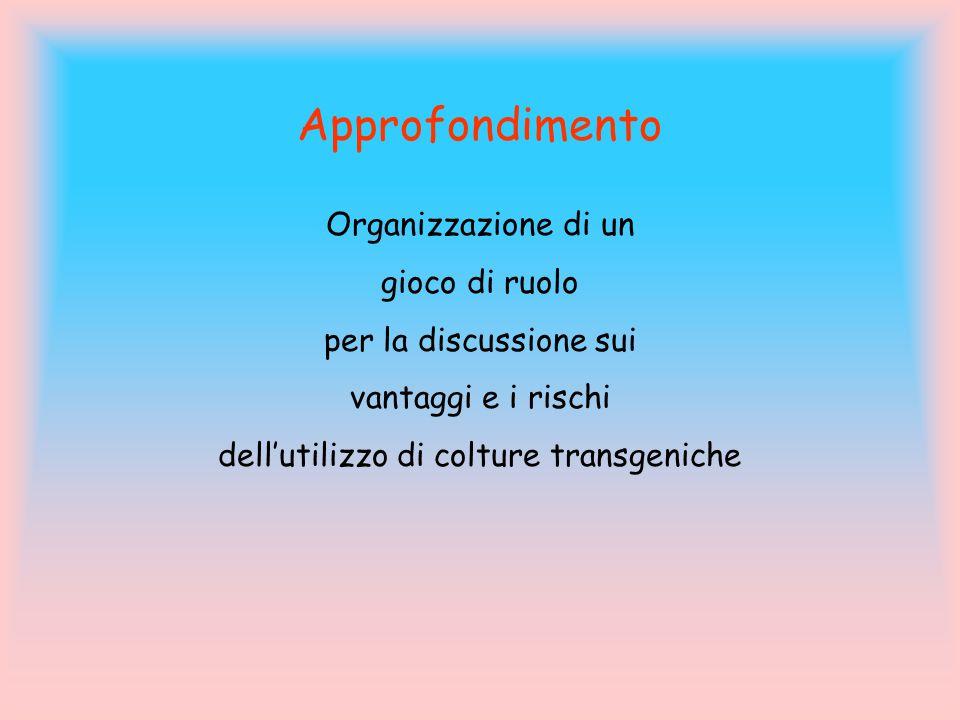 Approfondimento Organizzazione di un gioco di ruolo per la discussione sui vantaggi e i rischi dell'utilizzo di colture transgeniche