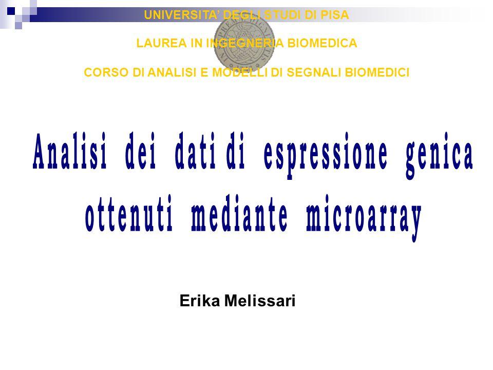 Microarray a DNA: tecnologie di costruzione dei vetrini Microarray a cDNA - lunghezza delle sonde: 200-400 mer - sonde sintetizzate prima dell'ancoraggio al vetrino - spotted microarray Microarray ad oligonucleotidi - sonde sintetizzate direttamente sul vetrino  sintetizzazione in situ - oligonucleotidi corti; lunghezza delle sonde: 20-40 mer (Affymetrix GeneChip) - oligonucleotidi lunghi; lunghezza delle sonde: 60 mer (Agilent)