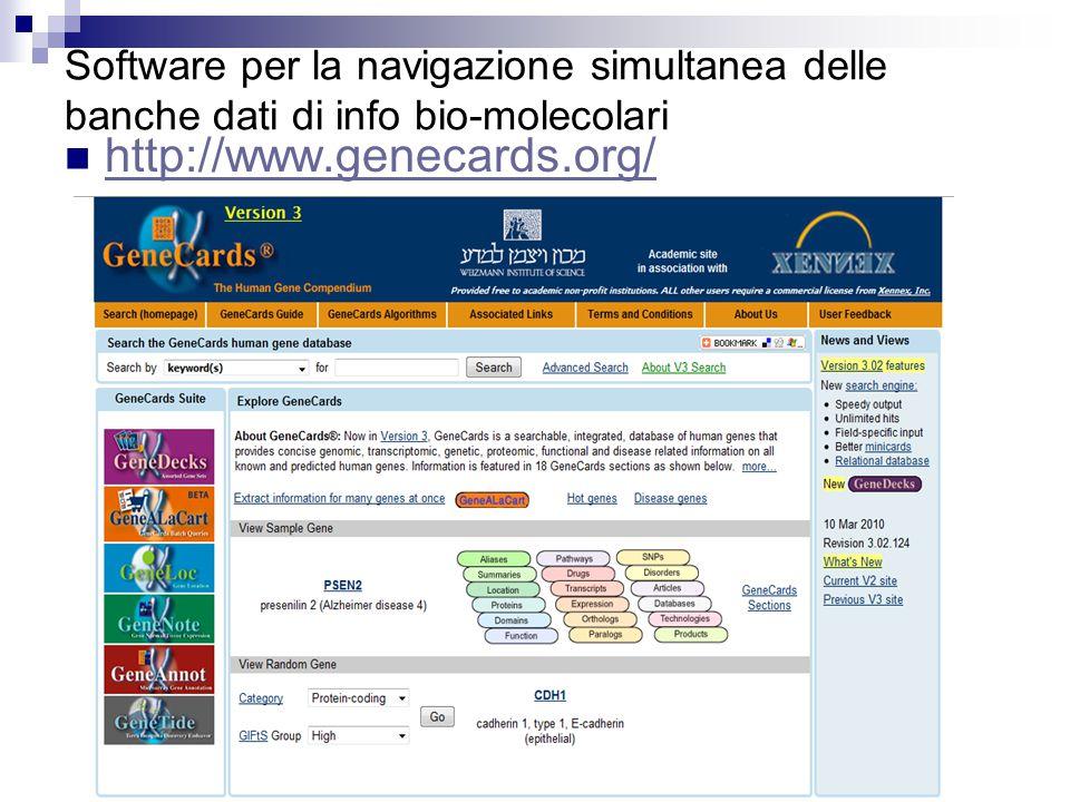 Software per la navigazione simultanea delle banche dati di info bio-molecolari http://www.genecards.org/