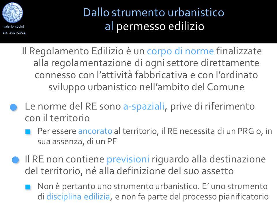 valerio cutini Dallo strumento urbanistico al permesso edilizio a.a.