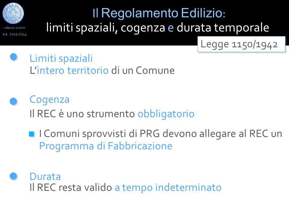 valerio cutini Il Regolamento Edilizio : limiti spaziali, cogenza e durata temporale a.a.
