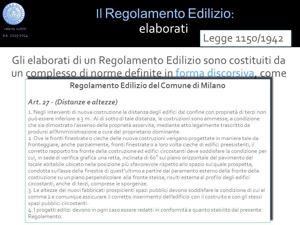 valerio cutini Il Regolamento Edilizio : elaborati a.a.