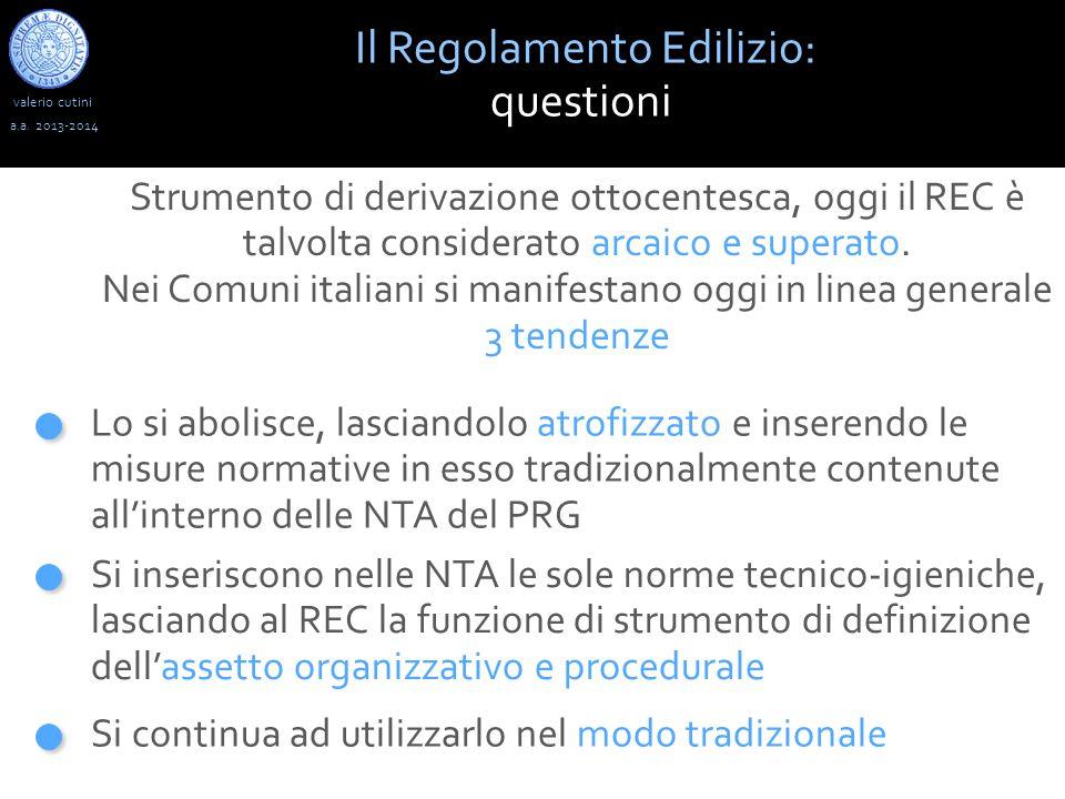valerio cutini Il Regolamento Edilizio: questioni a.a.