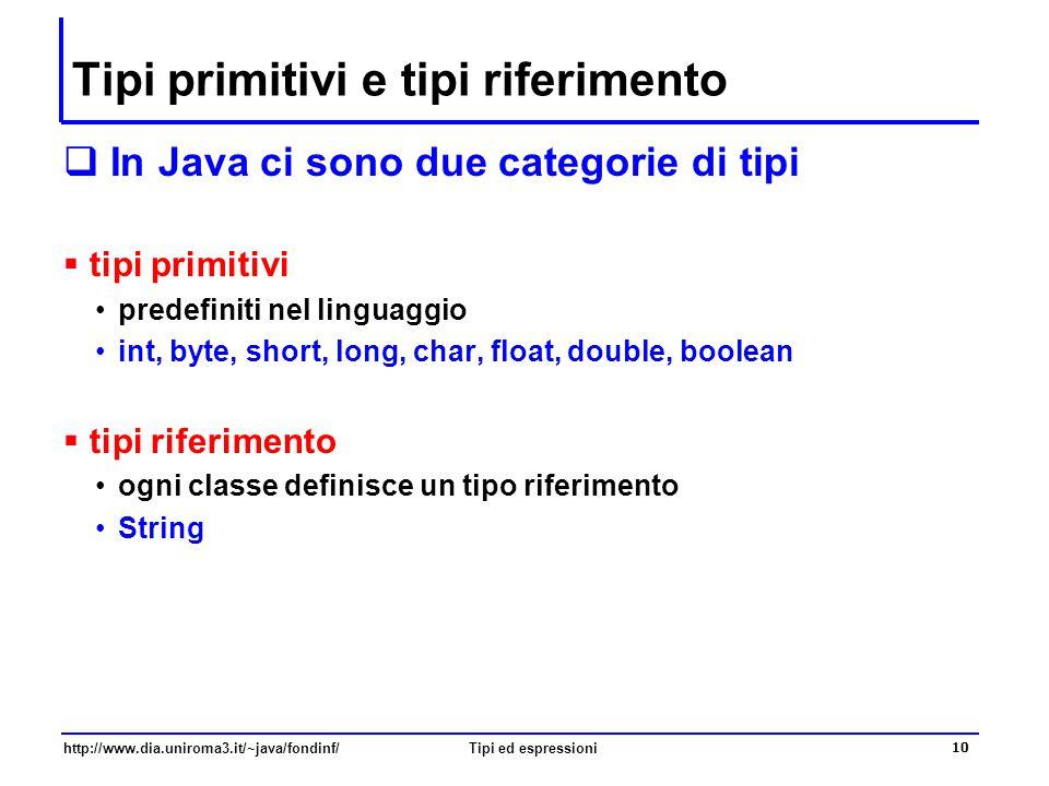 http://www.dia.uniroma3.it/~java/fondinf/Tipi ed espressioni 11 Il tipo int  Rappresentazione  In complemento a 2, con 32 bit  Dominio  Interi relativi compresi tra -2 31 e + 2 31 -1  Operatori  +, -, *, / (quoziente), % (resto)  è possibile scrivere dei valori costanti che rappresentano numeri interi come 0, 1, 4126, –4543.