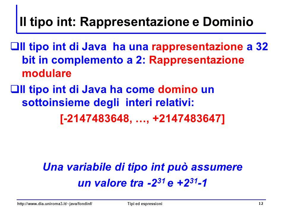 http://www.dia.uniroma3.it/~java/fondinf/Tipi ed espressioni 13 Aritmetica modulare int numero; numero = 2147483647 + 1; // quanto vale ora numero.